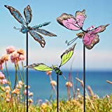 Juegoal 34 Inch Butterfly Garden Stakes Decor, Dragonfly Hummingbird Stakes, Glow in Dark Metal Yard Art, Indoor Outdoor Lawn Pathway Patio Ornaments, Set of 3