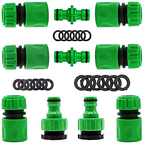 """Plastic Garden Hose Tap Connector Kit Hose Connector Fitting Set for Join Garden Hose Pipe Tube Including Double Male Connector,Hose Tap Connector Size 2-in-1, Hose 1/2""""End Quick Connect (10 Packs)"""