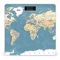 青いアフリカヴィンテージ世界地図詳細 Map 体重計、ステップオンテクノロジーを備えた精密デジタルボディバスルームスケール、強化ガラスイージーリードバックライト付きLCDディスプレイ