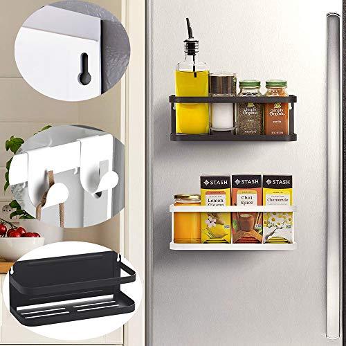 Hangrek voor koelkast, magneet, kruidenrek met opberghaken, keukenrek, keukenrek, keukenorganizer, opbergen, magnetische opslag, organisator voor kruidenpotjes, keuken en woonkamer