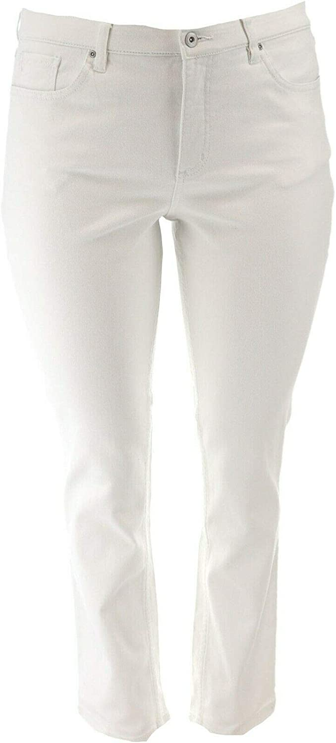 Denim & Co. How Slimming Colored Straight Leg Pants White 26W New A272958