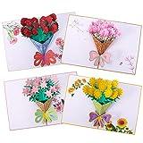 Xinzistar 4 Pezzi Biglietto Auguri Compleanno 3D Pop-Up Fiori Bouquet Matrimonio Carta Biglietto d'Auguri con Busta per Buon Compleanno Anniversario Laurea Festa Della Mamma