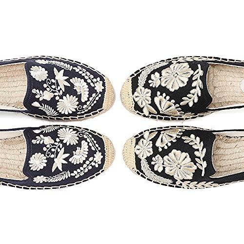 LYNLYN Gestickte Schuhe für Frauen Womens Casual Espadrilles Slip auf atmungsaktiven Flachs Hanf Leinwand für Mädchen Schuhe Mode Stickerei Komfortable Damen Mädchen Gestickte Fersen - 6