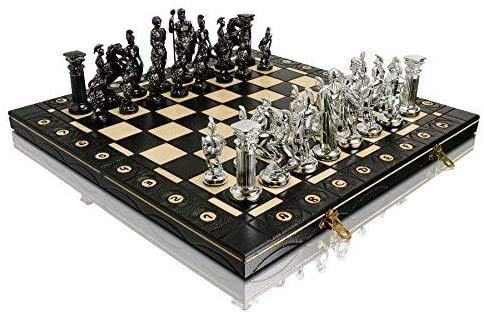 CHROME SPARTAN Chess Set 16' Wooden Chess Board with Ornaments and Weighted Chrome Plastic Pieces (Spartan Silver)