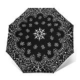 Paraguas Plegable Automático Impermeable Bufanda Negra, Paraguas De Viaje Compacto a Prueba De Viento, Folding Umbrella, Dosel Reforzado, Mango Ergonómico