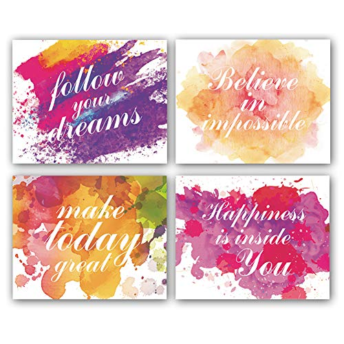 Motivational Inspirational Word&Sign Quotes Art Positive Life Typography Print, Set of 4 Canvas Art(8'x10') Famous Phrases Unique Sayings Posters,Graduation Gift,Multicolor