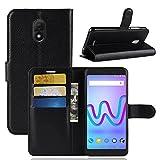 ECENCE Handy-Schutzhülle - Handytasche für Wiko Jerry 3 Schwarz - Smarthone Hülle Cover stoßfest mit Kartenfach - Handycase mit Stand-Funktion 14010207