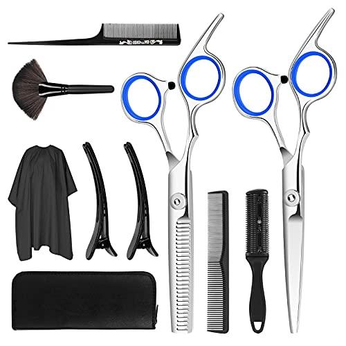COXTNBIO tijeras de peluquería, Tijeras Peluquelo Profesional para el cabello, Tijeras Peluqueria Profesional con capa de barbero y peine de maquinilla de afeitar, clips, set corte de pelo profesional