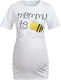 724bb54cc8490 OTINICE Women Maternity T-Shirt Summer Short Sleeve Heart Letter Print  Casual Tops Pregnant Clothes