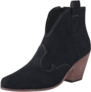 Bottines Femmes,SANFASHION Bottes Court Bout Pointu Talon Haut Épais Chaussure Casual Western Knight Booties Daim Faux Bot...