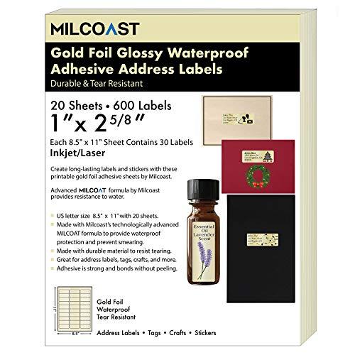"Milcoast Gold Foil Glossy Waterproof Tear Resistant 1"" x 2-5/8"" Address Labels - for Inkjet/Laser Printers - 600 Labels (20 Sheets)"