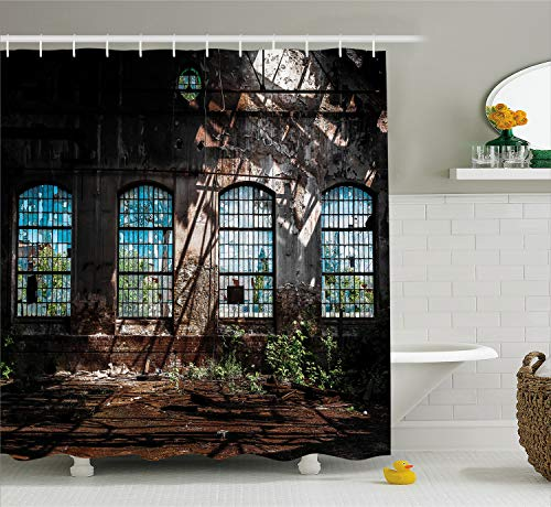 """Ambesonne Industrial Shower Curtain, Industrial Interior with Tall Old Windows Ruins Hallway Station Shadow, Cloth Fabric Bathroom Decor Set with Hooks, 75"""" Long, Brown Green"""