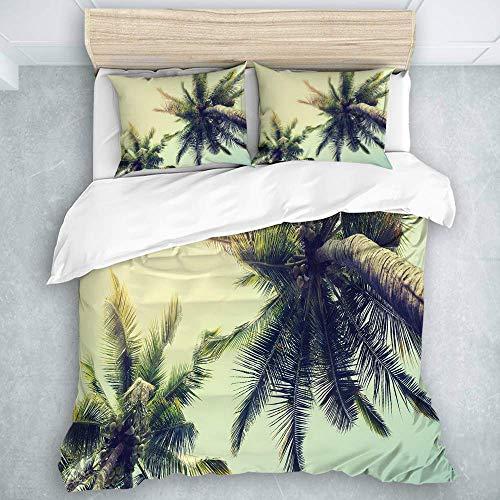 HBGDFNBV 446 - Set di biancheria da letto con 3 pezzi, motivo 'Tranquility in Tropical Nature Landscape at Summer', 3 pezzi, 1 copripiumino + 2 federe, per letto matrimoniale