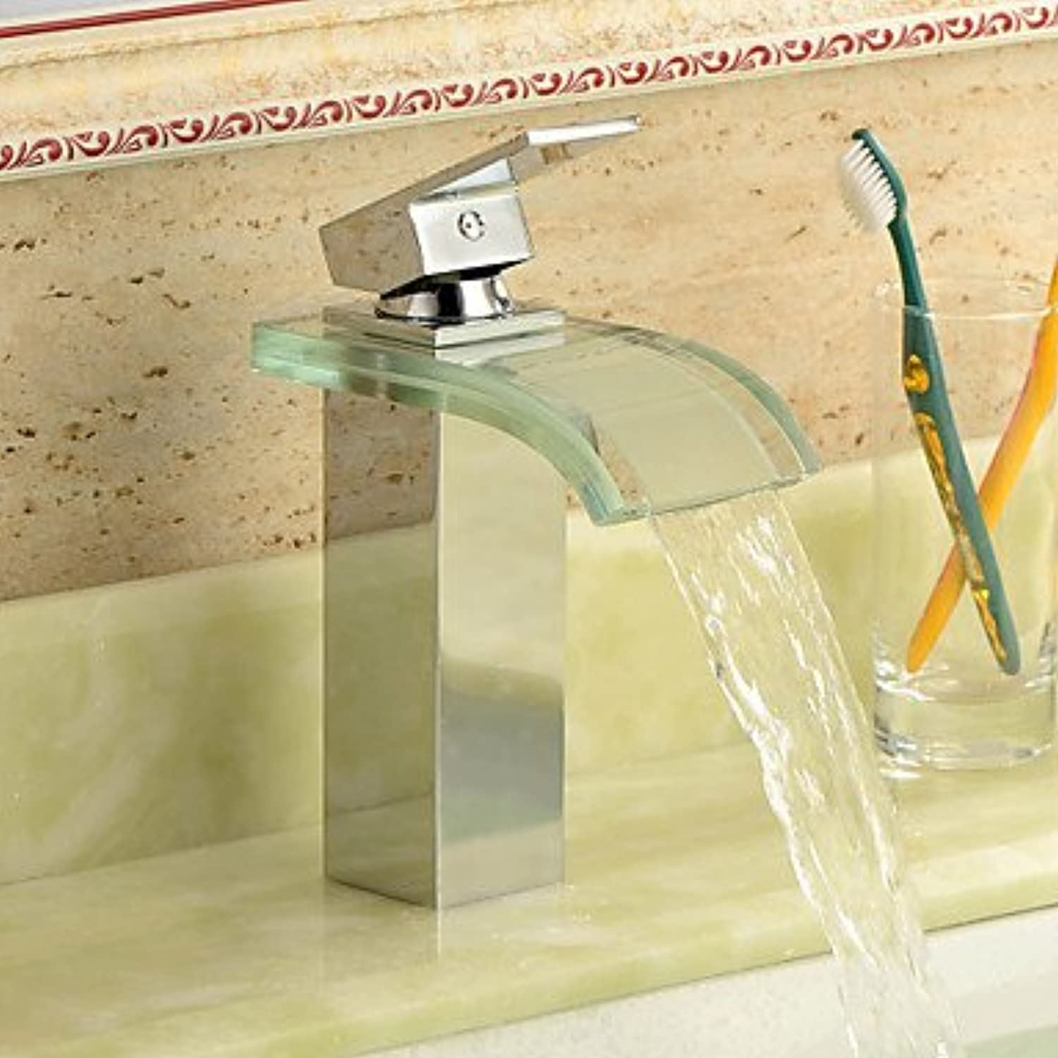 HMer Modern Waterfall Sink tap with Glass Spout(Chrome Finish)