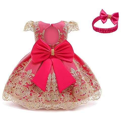 TTYAOVO Vestido de Fiesta de Cumpleaños de Princesa sin Respaldo Bordado de Niñas 80 (7-12 Meses) Rosa Roja