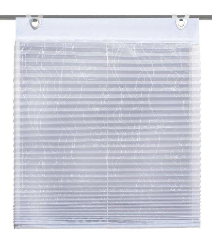 Home Fashion 91906-601 Plisseerollo, mit Haken und Ösen, Voile, Bedruckt, weiß / 140 x 45 cm