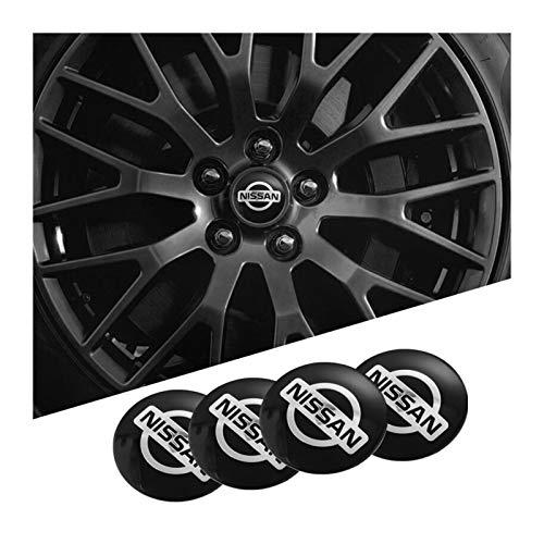 Tapas Para Llantas 1set Coche Wheel Stickers 56mm Auto Center Hub Cap Decal Compatible con Nissan Qashqai Juke X-Trail Tiida Teana Skyline Almera Altima Versa Tapas de cubo de rueda