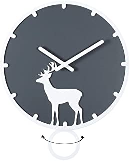 Swing simple style bedroom elk wall clock,wooden novelty room quiet quartz clock,AA battery powered,study,dining table wal...
