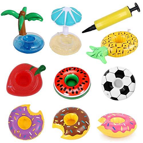 Migimi Portavasos inflables de 9 piezas para beber, posavasos inflables para fiestas en la piscina y juguetes de baño para niños, portavasos flotadores de playa, portavasos con mini bomba de aire