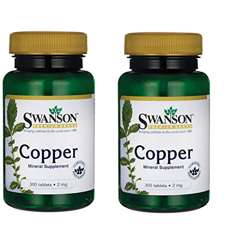 Swanson Copper Antioxidant Immune System Red Blood Cell Support Mineral Supplement (Copper chelate) 2 mg 300 Tabs (2 Pack)