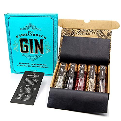 Gin Gewürze + Gin Buch Geschenkset I 5 erlesene Gin Gewürze im & Gin Tonic Guide (Hardcover) im Gin Set I Gin Rezepte, Gin Herstellung, Gin Geschichte als tolles Gin Geschenk zu Weihnachten