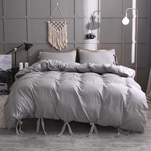ZBCN Juego de funda de edredón de 3 piezas, funda de edredón de microfibra lavada ultrasuave con nudo de bowknot, ropa de cama de hotel (E,155 x 220 cm)