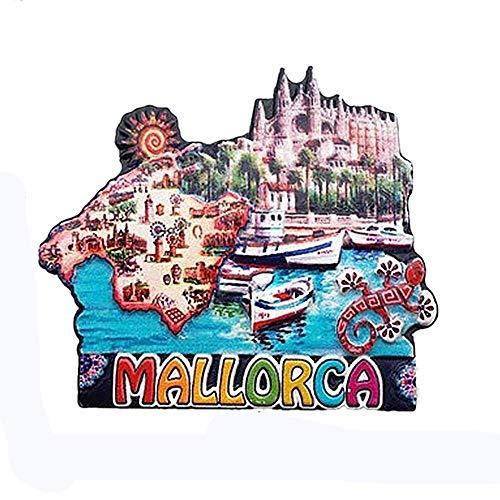 Mallorca España imán para nevera 3D regalo de recuerdo de viaje, decoración para el hogar y la cocina, pegatina magnética Mallorca España colección de imanes para nevera