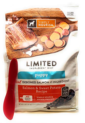 SIMPLY NOURISH Puppy Salmon and Sweet Potato Dry Dog Food, 4 lbs and Especiales Cosas Mixing Spatula