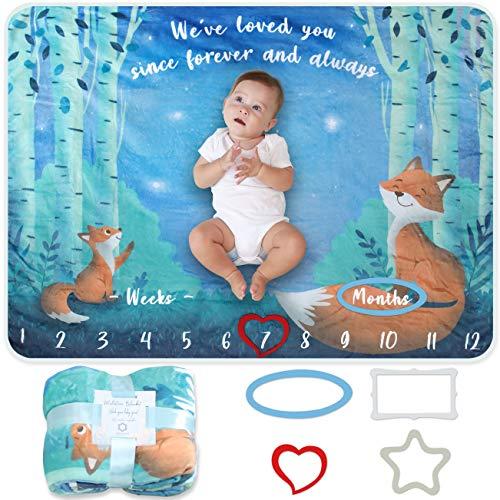 Baby Meilenstein Decke | Foto Monatsdecke Baby Neugeborene Junge oder Mädchen, Unisex | Personalisiertes Baby Party-Geschenk | Motiv Fuchs, Wald & Sterne | Weich & Dick | Baby Monats-Decke
