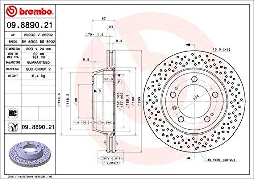Preisvergleich Produktbild BREMBO 09.8890.21 Bremsscheibe Scheibenbremsen,  Bremsscheiben (x2)