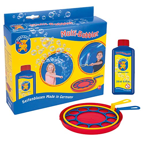 Pustefix Multi-Bubbler I 250 ml Seifenblasenwasser I Bunte Bubbles Made in Germany I Seifenblasen Spielzeug für Hochzeit, Kindergeburtstag, Polterabend I Große Seifenblasen für Kinder & Erwachsene