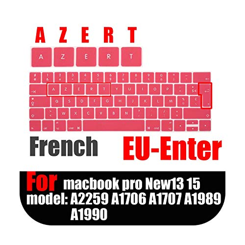 French version Laptop Keyboard Protective Film Waterproof For Macbook touchbar13 15'French EU AZERT Keyboard Cover Silicone case-Pink-