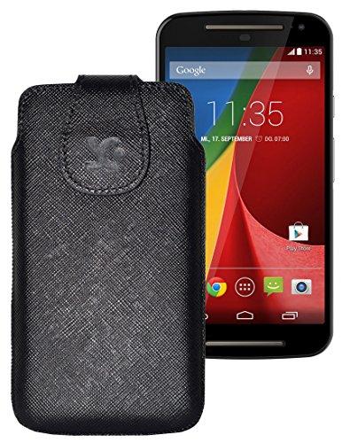 Original Suncase Tasche für / Motorola Moto X 2014 (2. Generation) / Leder Etui Handytasche Ledertasche Schutzhülle Hülle Hülle / in vollnarbig-schwarz