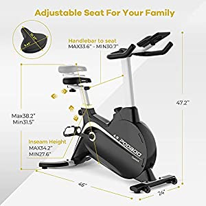 Cycool Exercise Bike,Indoor Cycling Bike,Adjustable Magnetic Resistance Stationary Bike with Transport Wheels and Display Holder, Workout Training Bike(A301,Gold)