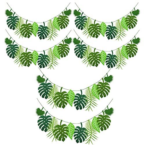 tooloflife Guirnalda de bandera de hojas tropicales, guirnalda tropical, bandera de hojas de palmera tropical, decoración de fiesta para fiesta hawaiana Luau fiesta, selva, fiesta temática,6 unidades