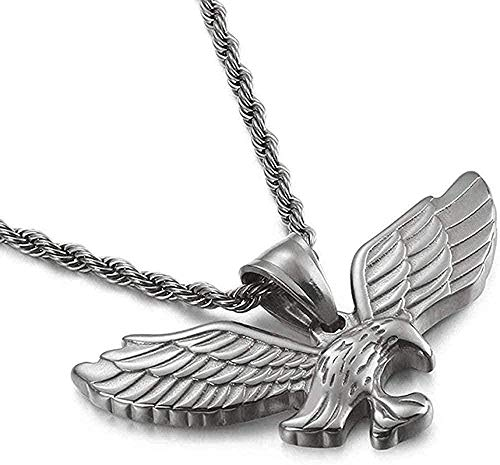 BEISUOSIBYW Co.,Ltd Collar de Moda Collar de Acero de Titanio Alas de águila Colgante Street Dance Bar Joyas 43 × 21mm-Steel