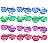 Plastic Shutter Shades Glasses For Kids - 80's Party Favors Shutter Sunglasses In Assorted Colors - Pack Of 12 Party Eyewear Slotted Glasses