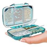 Travel Pill Container Box for Purse - Pill Organizer Small Travel Pill Case Moisture Proof Vitamin Medicine Container Pill Dispenser Supplement Holder Portable Airtight Daily Pill Sorter 7 Compartment