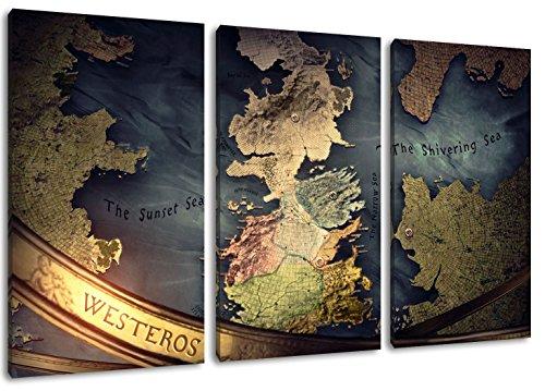 Westeros Karte 3-Teilig(120x80cm) auf Leinwand, XXL riesige Bilder fertig gerahmt mit Keilrahmen, Kunstdruck auf Wandbild mit Rahmen