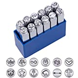 """12 Pack (6mm 1/4"""") Design Stamps, Metal Punch Stamp Stamping Tool Case"""