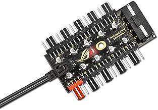E-outstanding 1PC 5 Way PWM Fan Hub Splitter for Desktop Computer Cooler Case Fans 4-Pin and 3-Pin 35cm Black