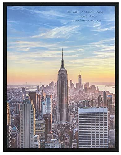 Marco de fotos o póster, perfil de aluminio con frontal de acrílico, borde de 2,5 cm de ancho, Moderno, Negro, 30x40