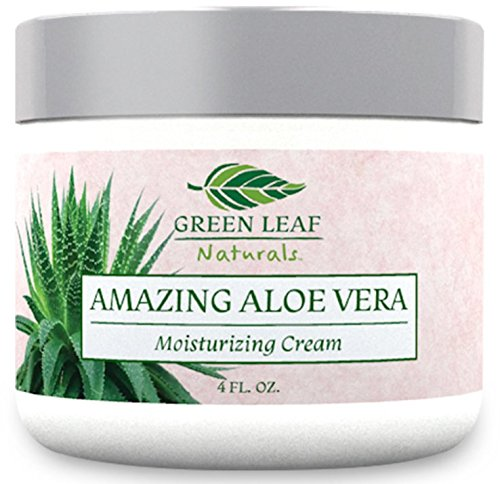 Amazing Aloe Vera Moisturizing Cream for Women - All Purpose Facial Skincare for All Skin Types - Pure Natural Ingredients - Your Anti-Aging Face Moisturizer from Green Leaf Naturals (4 oz)