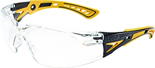 Bolle Safety Rush+ Safety Glasses, Yellow & Black Frame, Clear Lenses