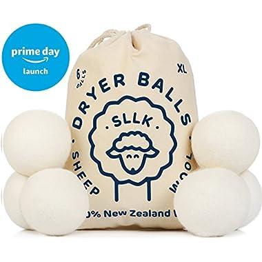 Wool Dryer Balls Organic - Wool Balls for Dryer - Wool Laundry Balls - Wool Dryer Sheets - Dryer Balls Laundry - Clothes Dryer Balls - Natural Fabric Softener Pack 6 New Zealand Wool Safer Alternative