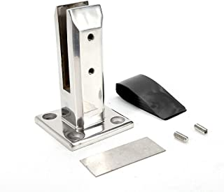 Stainless Steel Glass Clamp, Glass Spigot Pool Glass Fence Frameless Balustrade Railing Post Clamps Floor Standing Stairs Brackets Fit for 12mm Thickness Glass for Balcony Garden Deck Handrail
