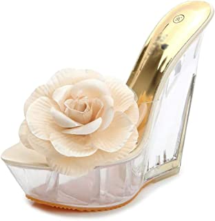 Women's Flowers WedgeSandals,Ladies Non-Slip Rubber Outsole Sandals,Summer Open Toe Perspex Clear High Heels