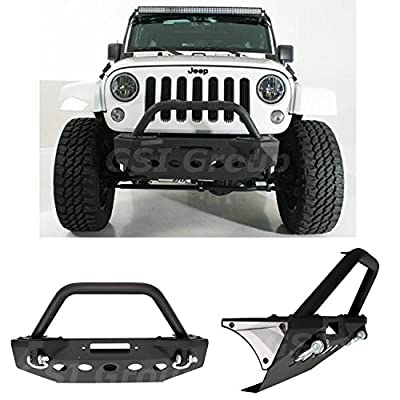GSI 07-16 Jeep Wrangler JK Stubby Front Bumper with +Bull Bar Hoop and Winch Mount Plate