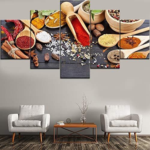 HOMOPK 5-delige afbeelding op canvas lepel korrels specerijen schilderijen 5-delig muurschildering woonkamer keuken decor afbeelding muurkunst poster canvas achtergrond muur huis decoratie geschenk 40x60cmx2 40x80cmx2 40x100cmx1 Frameloos.