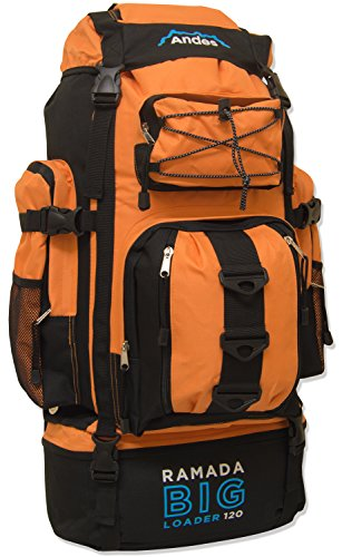 Andes Bright Orange Ramada 120L Extra Large Hiking Camping Backpack/Rucksack Luggage Bag